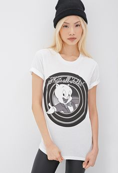Porky Pig Graphic Tee | FOREVER21 Warner Bros Looney Tunes that's all folks