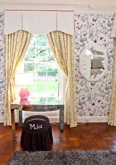 Kids room | #bright #modern #kidsroom #butterflies #girlsroom #blackandwhite #bunkbeds #blue #rug #butterfly #yellowdrapes #windowtreatments #monogram #woodfloors #interior #interiordesign