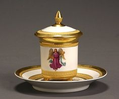Berlin Porcelain Covered Cup and Saucer 1832-1837