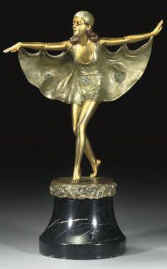 OTTO POERTZEL | BAT DANCER A GILT AND PATINATED BRONZE FIGURE, CIRCA 1920
