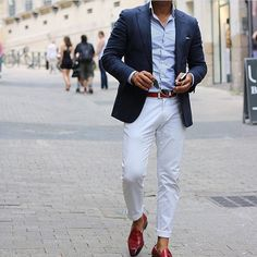 Shop this look on Lookastic: https://lookastic.com/men/looks/blazer-long-sleeve-shirt-chinos/21237   — Light Blue Long Sleeve Shirt  — Navy Blazer  — Brown Leather Belt  — White Chinos  — Red Leather Tassel Loafers