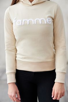 Beige Majuscule hoodie from Famme Beige, Hoodies, Sweatshirts, Custom Made, Embroidery, Fabric, Sweaters, Cotton, Jackets