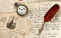 1680x1050 Wallpaper vintage, old paper, pen, watch, writing, stamp, postcard