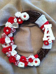 "Felt flower wreath, burlap wreath, fabric flower wreath, 16-18"" wreath, grapevine wreath, red and cream wreath, monogram wreath on Etsy, $38.00"