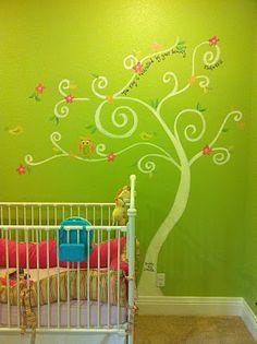tree mural, girl room
