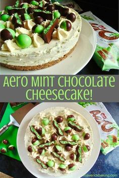 Aero Mint Chocolate Cheesecake; rich, creamy and refreshing all at once. This dreamy no-bake mint cheesecake is laced with Aero Mint Chocolate, just TRY and resist it!