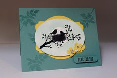 """Stamp-a-Stack July 2014 with demonstrator Dianna Nicholson. Stampin Up: """"World of Dreams"""" stamp set, circle punch post it in centre to prevent sponging from occuring for sun in back of nest, Itty Bitty Punch Pack flower punch"""