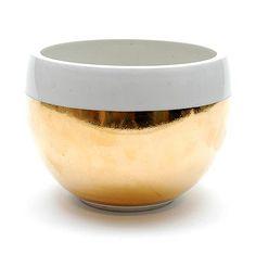 Gold-coloured glazed porcelain bowl, design & execution Olaf Stevens, in own studio, Utrecht / the Netherlands 1986