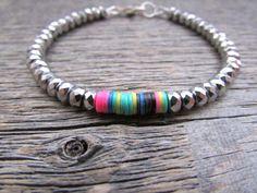 african boho bracelet beaded hematite bracelet by earthwatersol Diy Jewelry, Beaded Jewelry, Jewlery, Handmade Jewelry, Jewelry Design, Jewelry Making, Unique Jewelry, Making Bracelets, Summer Bracelets