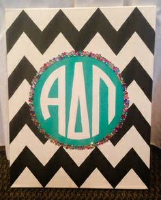 Alpha Delta Pi Sorority Monogram Hand Painted Canvas from http://crafterpiece.weebly.com/canvases.html