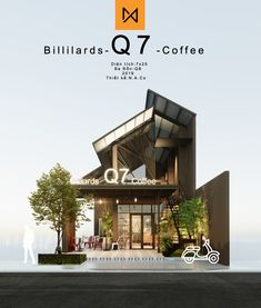 Billilards Q7 Coffee Design By N.A.Co Restaurant Plan, Restaurant Concept, Restaurant Design, Cafe Shop Design, Cafe Interior Design, House Design, Concept Architecture, Architecture Design, Simple Cafe