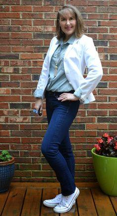 denim on denim, white blazer