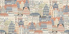 Metropolis (484-73) - Sandberg Wallpapers - A contemporary design of repeated houses and apartments in a hand painted effect. Showing in blue, orange and green. other colour ways available. Please request a sample for true colour match.