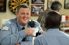 "Billy Gardell and Reno Wilson in Mike & Molly from ""Vince Takes a Bath"""