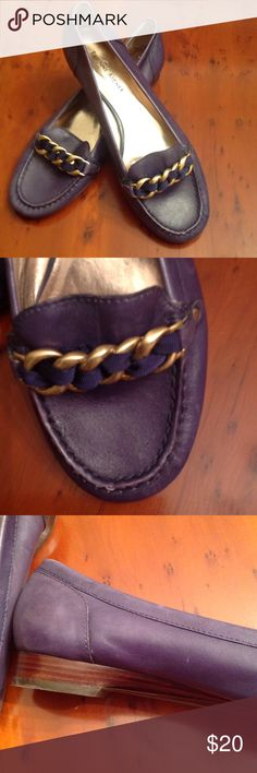 Navy Blue Loafer w/Buckle Neat in navy blue. This loafer is made out of fine leather giving this shoe a very flexible feel. The shoe features a brass buckle across front. Rubber so,e for extra comfort. Good condition Etienne Aigner Shoes Flats & Loafers