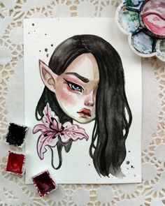 Anime Drawings Watercolor postcard Sold out Watercolor Postcard, Watercolor Paintings, Watercolor Paper, Arte Tim Burton, Tattoo Sketch, Cartoon Art, Cute Drawings, Art Sketches, Painting & Drawing