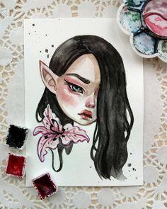 Watercolor postcard Sold out #art #illustration #watercolor #beautifulbizarre #fantasyartist #fantasy #faery #elf #blackfuryart