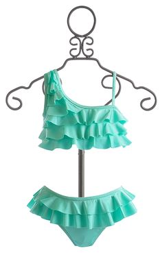 To The Tween Bikini in Mint Source by labellaflora Swimsuits For Teens, Kids Swimwear, Cute Swimsuits, Cute Bikinis, Kids Bathing Suits, Kids Suits, Baby Swimsuit, Girls Swimming, Tween Fashion