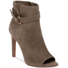 BCBGeneration Cassia Suede Booties ($139) ❤ liked on Polyvore featuring shoes, boots, ankle booties, fatigue, high heel boots, bcbgeneration boots, suede boots, suede leather boots and bcbgeneration