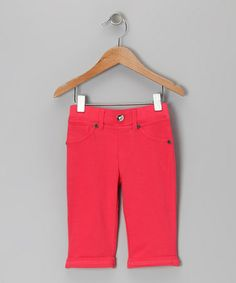 Take a look at this Hibiscus Denim Capri Jeggings - Toddler & Girls by Cheeky Smyle on #zulily today!