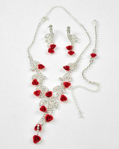 Silver Tone / Clear Rhinestone & Red Color Coated Metal / Lead Compliant / Flower Necklace, Post Earring & Bracelet Set