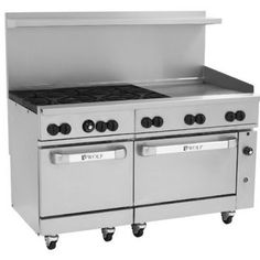 "Wolf C60SS-6B24G 60"" Challenger XL Gas Restaurant Range With 2 Standard Ovens, 24"" Griddle And 6 Burners, 278,000 BTU"
