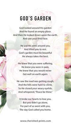 God'S garden: popular funeral poem for funeral and memorials Funeral Poems For Dad, Dad Poems, Funeral Quotes, Funeral Prayers, Mother Poems, Poems For Funerals, Funeral Verses, Poems For Mom, Eulogy For Mom