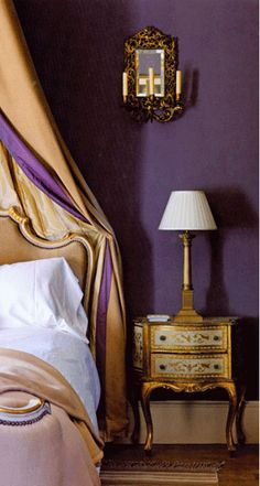 Luxurious purple and gold French bedroom. This bedroom appears antique but the… Royal Bedroom, Gold Bedroom Decor, Bedroom Colors, Bedroom Sets, Purple Bedrooms, Gold Rooms, French Style Homes, Purple Interior, Bedroom Layouts