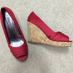 Nordstrom Boutique red satin wedges Beautiful. In great condition. Nordstrom Boutique Shoes Heels