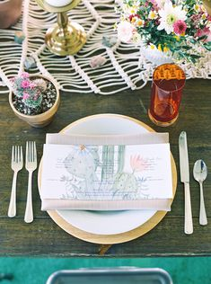 southwest bohemian wedding table setting with macrame table runner - Melissa Jill Photography