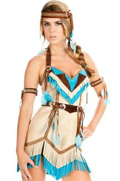 fantasia de índia americana de vestido bege com detalhes em azul