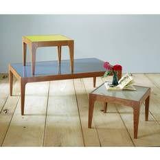 Table basse carrée NEW RETRO en verre et frêne massif