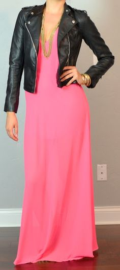 Outfit Posts: guest post - sister week: neon maxi dress, leather moto jacket