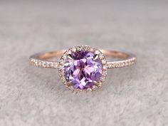 Anillo amatista natural anillo Halo diamante 14K Rose por popRing