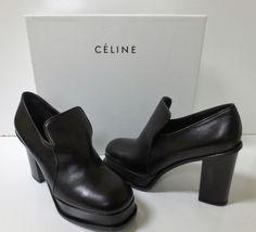 CELINE Black Leather Platform High Heel Loafer Pumps Shoes 37 NEW IN BOX $980 #Celine #PlatformsWedges