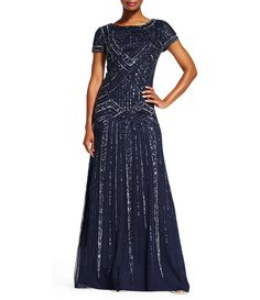 9a24ddfaffa Adrianna Papell Scoop Neck Geometric Beaded Gown-Navy