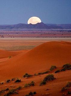 Beautiful Nature (Moonrize over Dina, pro-Namib plains, Africa, by…) Beautiful Moon, Beautiful World, Beautiful Places, Beautiful Pictures, Shoot The Moon, Amazing Nature, Belle Photo, Beautiful Landscapes, Wonders Of The World