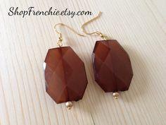 Chocolate Mocha Brown Drop Statement Earrings by ShopFrenchie, $15.00