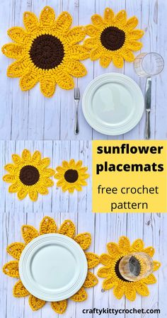 How to Crochet Sunflower Placemats FREE Pattern Sunflowers always look so happy They re the perfect touch to any decor for summer or fall or any season if you just happen to Crochet Home Decor, Crochet Crafts, Yarn Crafts, Free Crochet, Crochet Summer, Minion Crochet Patterns, Crochet Flower Patterns, Crochet Flowers, Crochet Stars