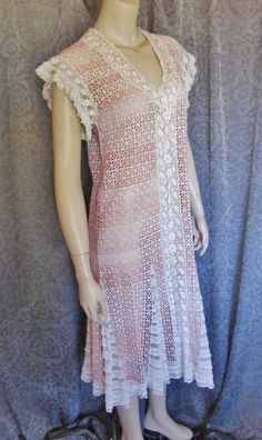 Charming 1920s, Gatsby Flapper Dress, Pink, White, Eyelet, Laces, Boardwalk Empire