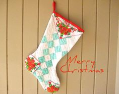 Christmas Stocking Vintage Irish Chain Quilt Vintage by CUSHgoods