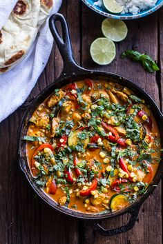 basil chicken curry with coconut ginger-lime rice.