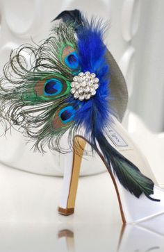 Something blue? Shoe Clips Royal Cobalt Blue Peacock Fan. Bride Bridal Bridesmaid MOH Birthday Gift Idea, Large Rhinestone, Statement Autumn Couture Teal. $63.00, via Etsy.  #DBBridalStyle