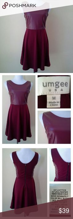 """UMGEE Faux Leather Fit & Flare Dress Look great coming and going in this striking cranberry/burgundy colored dress. Faux leather bodice. Exposed back metal zipper. Approx meas laid flat: U-U 17.5"""" across (the mannequin has a 36"""" bust), waist at seam 14"""" across, hips 28"""" across, length 33"""". Skirt 65% cotton + 35% polyester. Hand wash cold separately, hang dry. No tears, loose seams, perfectly clean inside and out. umgee Dresses"""