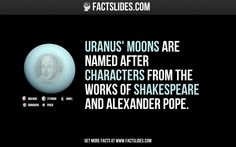 Uranus' moons are named after characters from the works of Shakespeare and Alexander Pope.