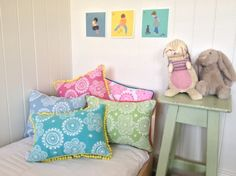 Messy posey cushion cover in fluro pink ink on white linen/cotton with aqua mini pom pom trim - Image 3