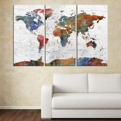 Main image oliver gal world map 1778 canvas print triptych large wall art 3 panel world map wall art world map push pin travel push pin world map world travel map push pin world map canvas print gumiabroncs Gallery