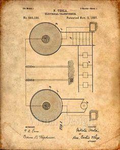 Patent Print Tesla Electrical Transformer Tesla by VisualDesign Tesla Electricity, Nikola Tesla Patents, Nicola Tesla, Tesla Inventions, Tesla Technology, Electrical Transformers, Tesla Coil, By Any Means Necessary, Patent Drawing