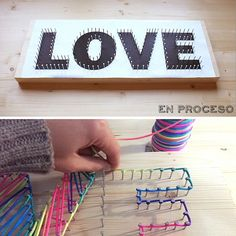 sorpresas-de-cumpleaños-para-amigas-regalos-con-hilos-de-colores-hecho-con-inscripcion-love-en-madera-con-clavos-pasos Diy Originales, Diy Gifts, Handmade Gifts, Diy Wood Wall, Valentine's Day Diy, String Art, Christmas Presents, Diy Home Decor, Diy And Crafts