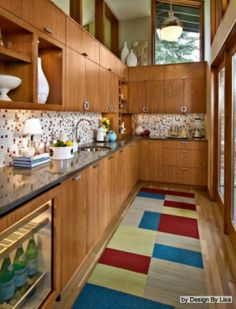 sleek wood kitchen cabinets - trend spotting- mid-century modern design and decor, home decorating interiors inspiration and ideas